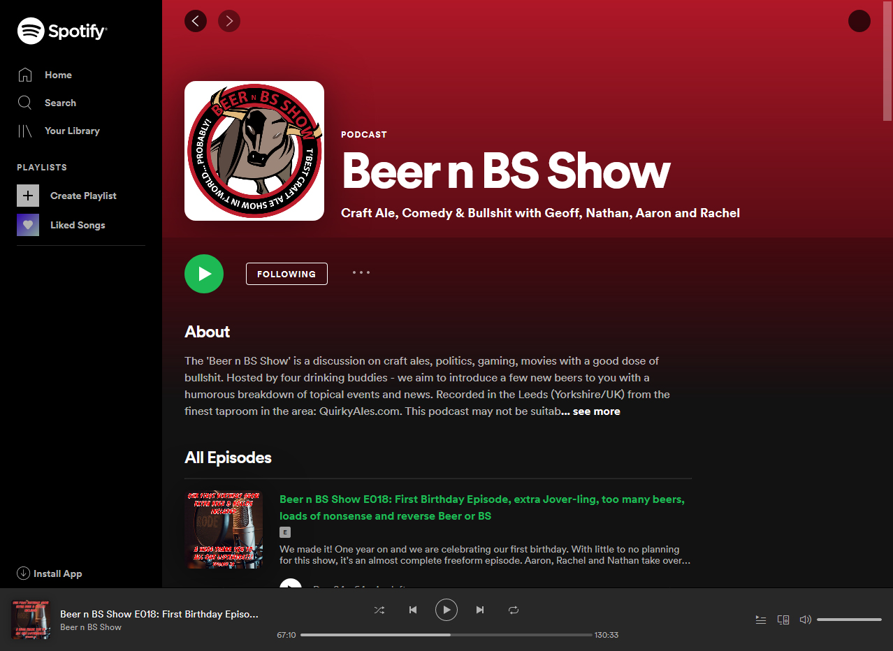 Listen to Beer N BS Show on Spotify